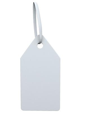Etiqueta blanca con un lazo blanco sobre un fondo blanco Foto de archivo - 27995085