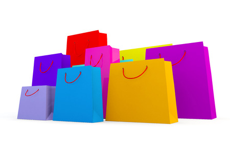 lots: 3d render of wide variety of coloured bags on a white background Stock Photo