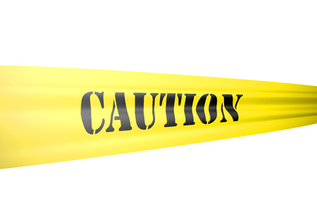 caution tape: caution message isolated on white Stock Photo