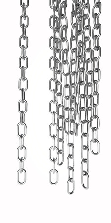 hanging out: chains cut out and isolated on white, steel colour