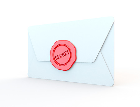 confidentiality: closed white envelope sealed with wax for confidentiality, 3d render