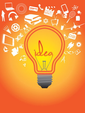 lots: DIFFERENT ITEMS TO REPRESENT HAVING A HUGE AMOUNT OF DIFFERENT IDEAS SURROUNDING A LIGHTBULB WITH THE WORD IDEA LIT UP ON A SHINING ORANGE BACKGROUND