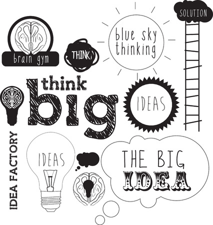 thinking icon: selection of handdrawn elements and typefaces with messages about ideas and blue sky thinking in a sketch style Stock Photo