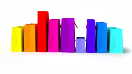 compras compulsivas: vistas laterales de un montón de bolsas de la compra que representan, las ventas, el consumismo o el tratamiento de usted, en el fondo blanco