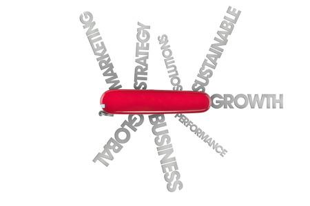 cuchillos: navaja suiza con un mont�n de palabras de negocio como mundial y soluciones que salen de cuchillas recorta sobre el fondo blanco Foto de archivo