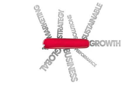 swiss army knife with lots of business words like global and solutions coming out of blades cut out on white background