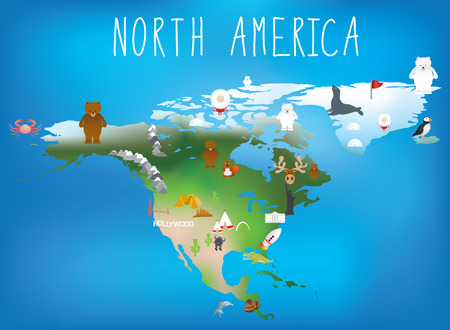 Map Of North America Showing Famous Landmarks Stock Photo Picture - Us map with famous landmarks
