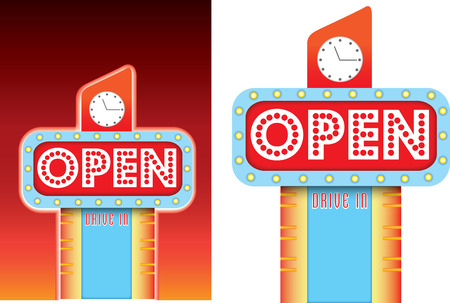 lit up 1950s neon retro sign with a big flashing open sign, available as vector and jpeg photo