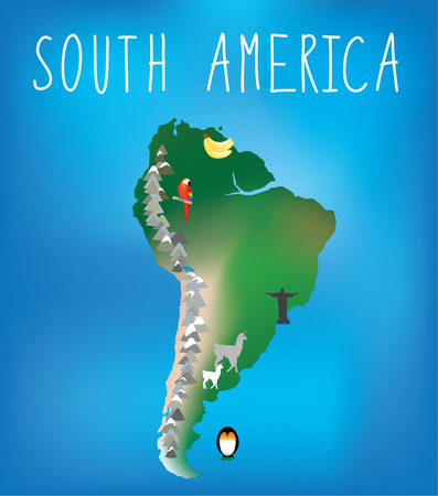 Map Of South America Showing Famous Landmarks Stock Photo Picture - Us map with famous landmarks