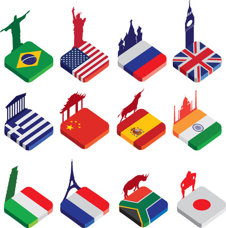 world famous landmarks as a square icon or button flag designs in colour isolated on a white background with silhouettes of famous landmarks photo