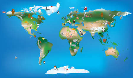pf: vector ilustration available as vector or jpeg pf the world as a fun educational tool,