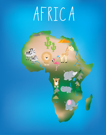 africa child: African world map brightly illustrated with cute child friendly animals