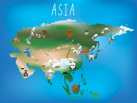 south east asia: Cute illustrated map of asia with space to add country names in your own language if needed. Stock Photo