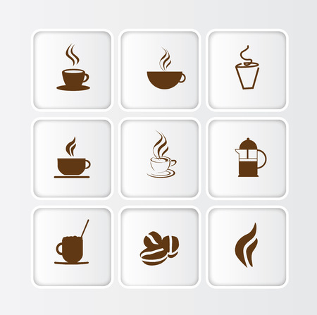 Selection of symbols or icons for coffee and coffee shops isolated on white flat  buttons with inner shadow photo