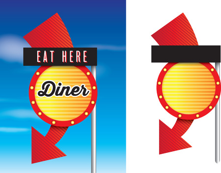 diners: vintage style cafe or diner signs isolated on white Stock Photo