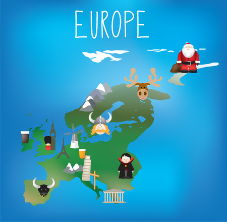 santa moose: Detailed map of Europe in a child freindly style