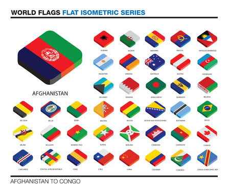 isolated world flags in flat colour on a white background, part of a series photo