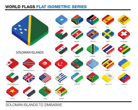 trinidad: isolated world flags in flat colour on a white background