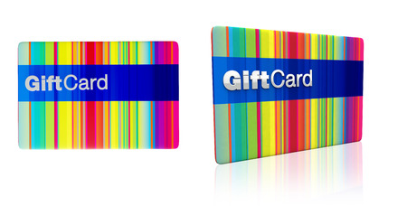 multicoloured generic gift card isolated on white background stock