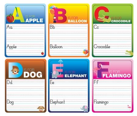 Childrens alphabet writing cards with cartoon characters on white
