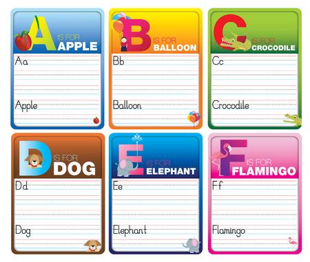Niños alfabeto escribiendo tarjetas con personajes de dibujos animados en blanco
