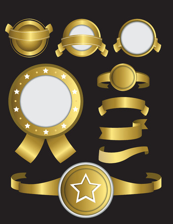 blank banner: Gold icons of ribbons and badges Stock Photo