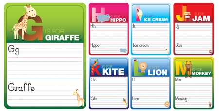 Childrens alphabet writing cards with cartoon characters on white photo