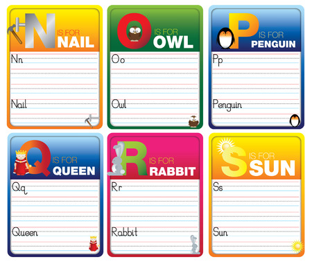 phonics: Childrens alphabet writing cards with cartoon characters on white