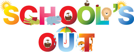 schools out and no matter what the weather, fun will be had, Banque d'images
