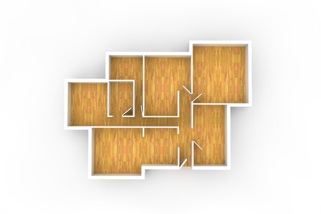 floorplan: floorplan with wooden floor and empty spaces from above Stock Photo