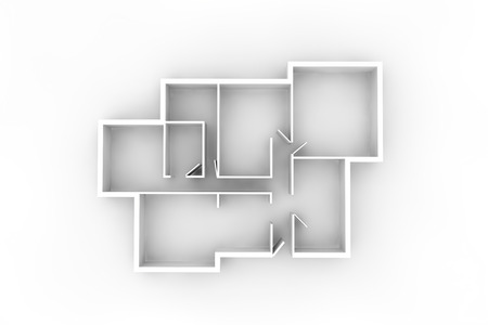 architect plans: white walls 3d floor plan or floorplate Stock Photo