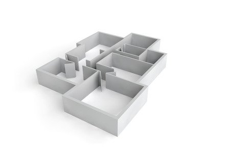 white walls 3d floor plan or floorplate Stock Photo