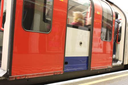 to depart: underground train carriage waiting to depart