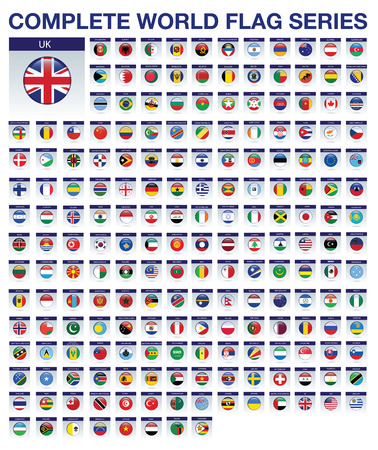 all european flags: sports badge or icon isolated on a white background