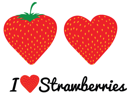 Message in curly typeface i love strawberries Illustration