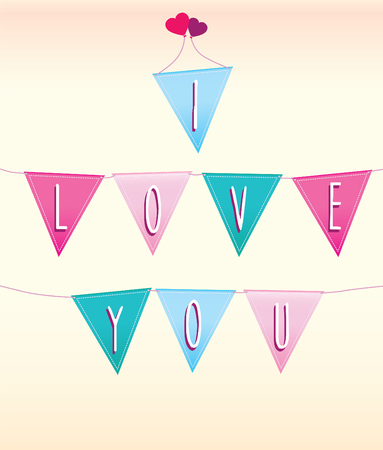 coloured background: coloured vector of flat style modern bunting on pastel background Illustration