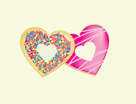 cartoon illustration of donuts with icing and sprinkles