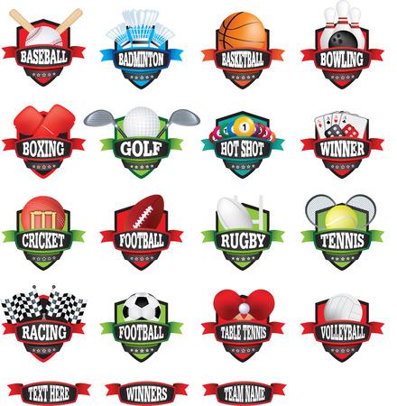 raquet: vector clip-art collection of editable sports team badges