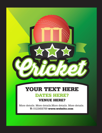 bails: Poster Ad advertisement, marketing or promotion flyer for a cricketTennis club, event or match