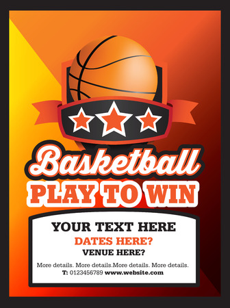 poster ad advertisement marketing or promotion flyer for a basketball club or event stock vector
