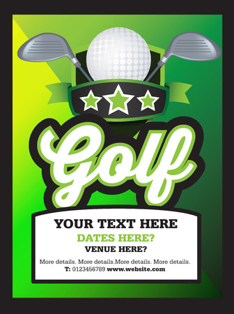 tournament: Poster Ad advertisement, marketing or promotion flyer for a golf club or event Illustration