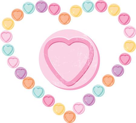 Ama el caramelo Herat o dulces cortadas en el fondo blanco Foto de archivo