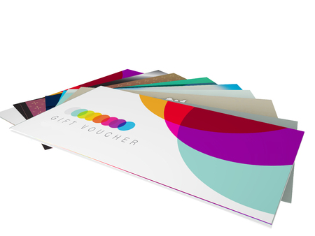 vouchers: 3d render of a set of designs for gift vouchers