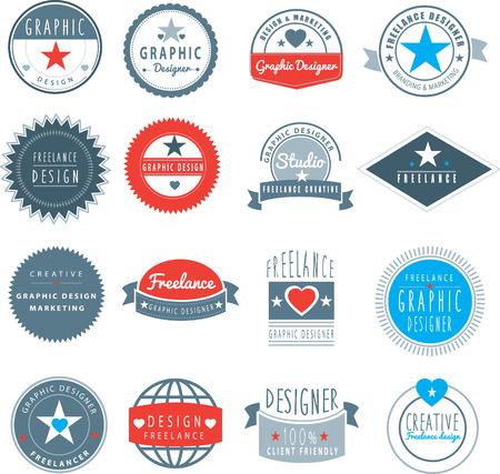 freelancer: set of branding logos for freelance designer or graphic design studio