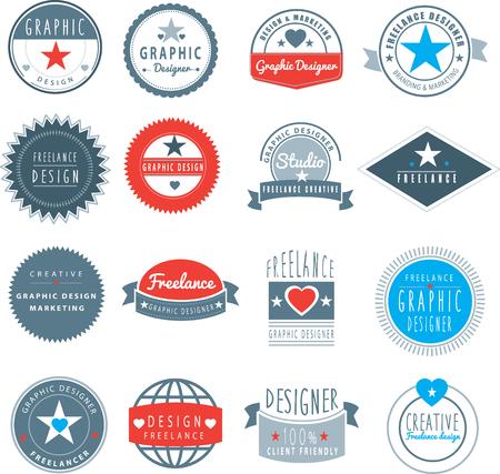 ensemble de logos de marque pour designer indépendant ou studio de design graphique Logo