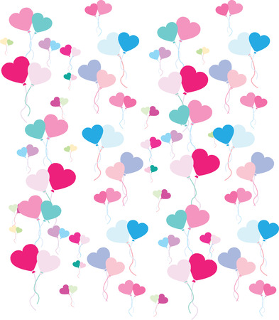 baloons: vector image of a repeat pattern of heart balloons on white background Illustration