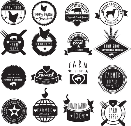 buy local: collection of logos ideas based farm and farming, in black and white