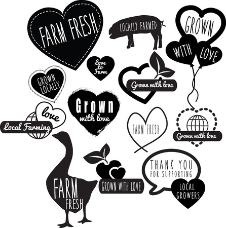 sourced: collection of logos ideas based farm and farming, in black and white