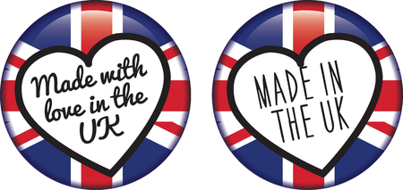 uk: badge, stamp or logo with the british union jack flag as a stamp of approval or providence Illustration