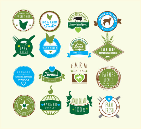 collection of logos ideas based farm and farming, in colour Illustration
